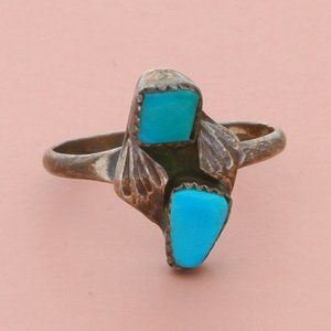 zuni sterling silver turquoise feather ring